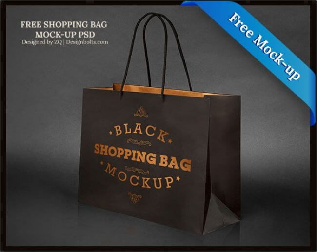 Black Shopping Bag Mock-up