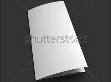 Blank trifold paper brochure mockup