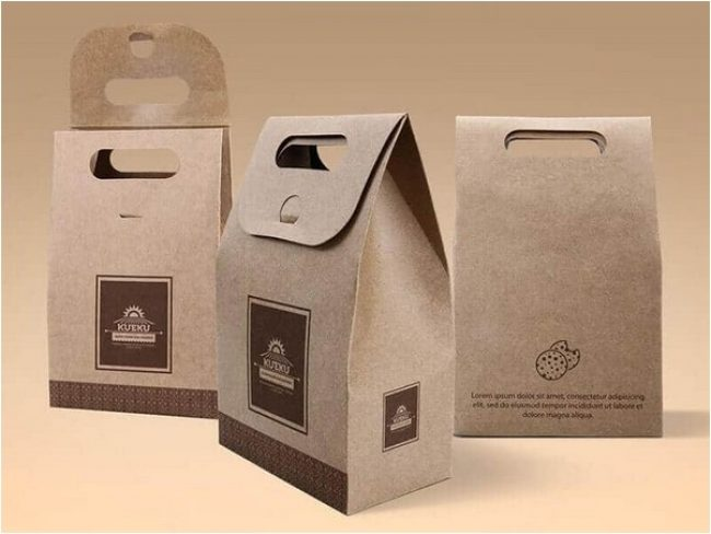 Cake And Cookie Kraft Paper Bag Mockup