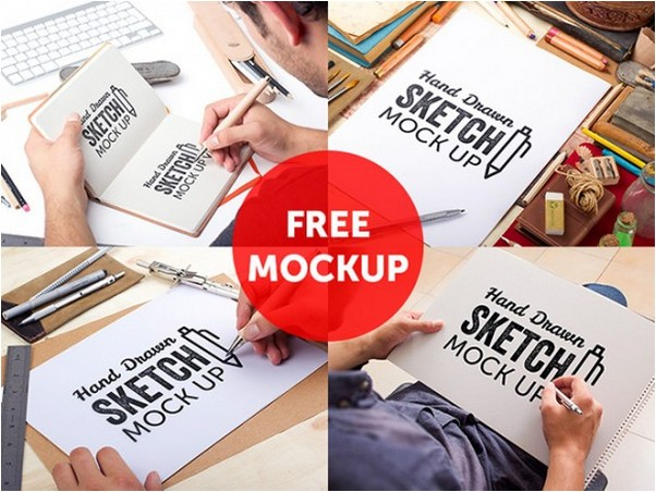 Free PSD hand drawn sketch mockups