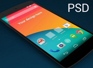 Nexus 5 skewed perspective template PSD