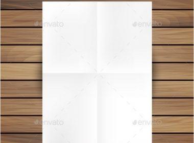 White Folded Paper Mockup Card Isolated On Wood