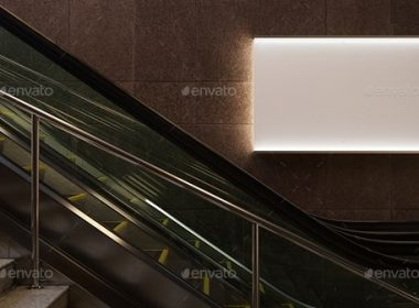 3D Animated Escalator Lightbox Mockup