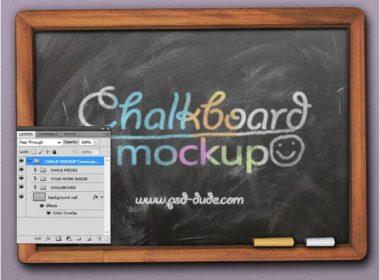 Chalk Photoshop Effect And Chalkboard Mockup