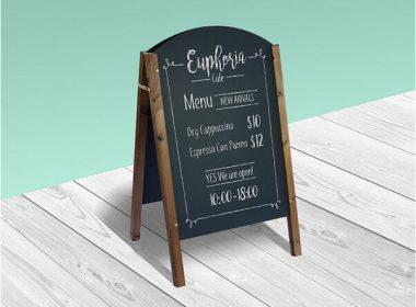 Free A-Frame Chalkboard Restaurant Menu Mockup