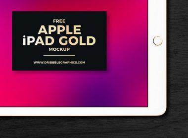 Free Apple iPad Gold Mockup 2018