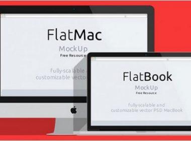 Macbook flat mockups PSD material
