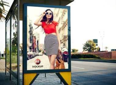 Outdoor Bus Stop Billboard Mockup