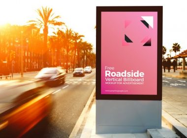 Roadside Vertical Billboard MockUp