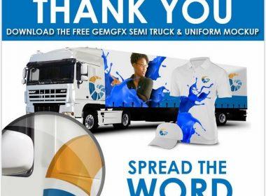 Semi Truck and Uniform Mockup