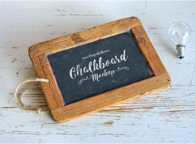 Wooden Frame Chalkboard Mockup PSD