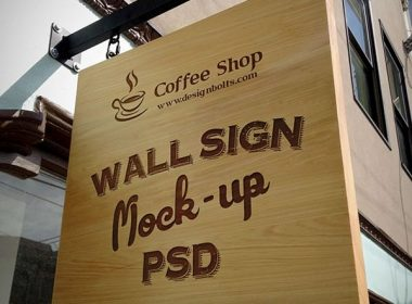 Wooden Outdoor Advertising Shop Wall Sign Mock-up PSD