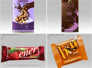 4 Chocolate Bar Packaging Mockups