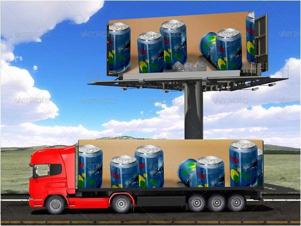 Billboard and Truck Mock-up