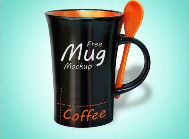 Black Mug Mockup PSD