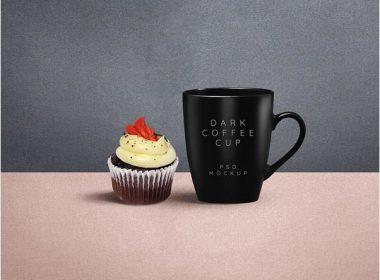 Dark Coffee Mug PSD Mockup