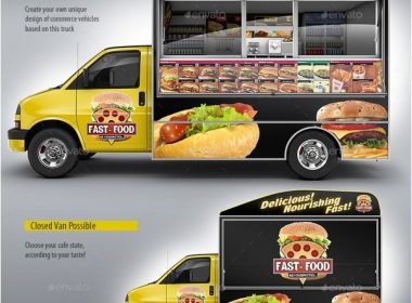 Food Truck Mock-Up. Van eatery mockup.