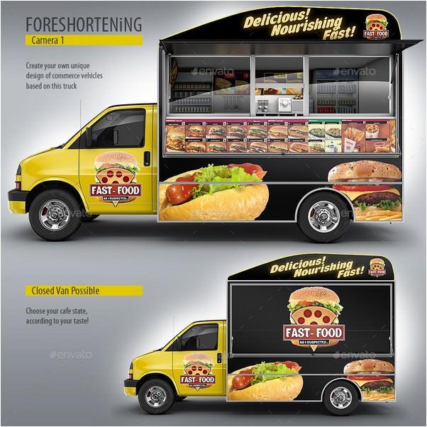 Food Truck Mock-Up. Van eatery mockup.