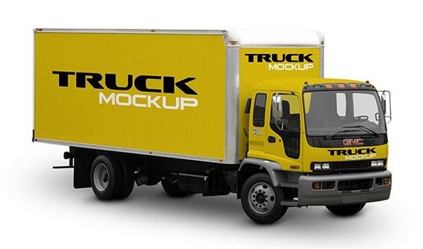 Free Mock-Up Truck Cargo PSD