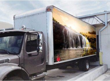 Realistic Box Truck Mockup Template