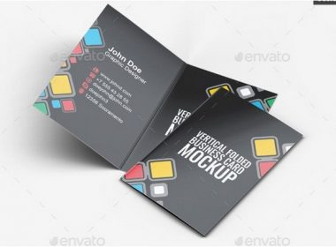 Vertical Folded Business Card Mock-Up