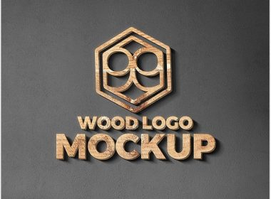 Wood & Metal Cut Logo Mockup
