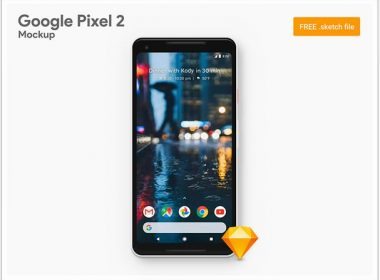 Freebie Google Pixel 2 XL Sketch Mockup