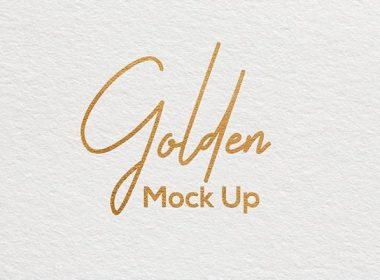 Gold Paper Logo Mockup