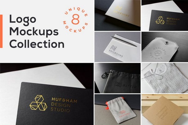 Realistic Logo Mockups Collection