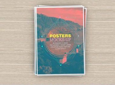 PSD A4 Poster Mockups-2500 x 1406