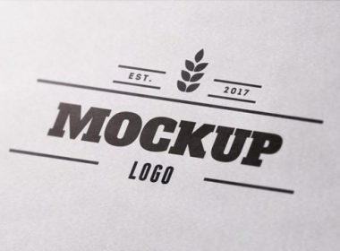 Close Up Textured Paper Logo MockUp