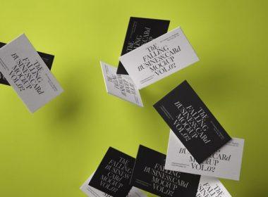 Falling Psd Business Card Mockup Vol2