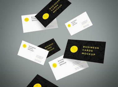 Flying Business Cards Mockup Vol.4