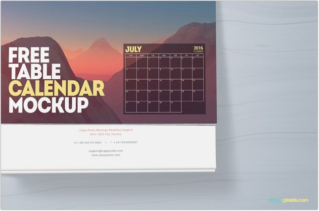 Free Table Calendar Mockup With Beautiful Customization Options