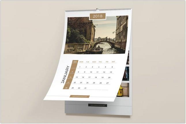 Free Wall Calendar Mockup