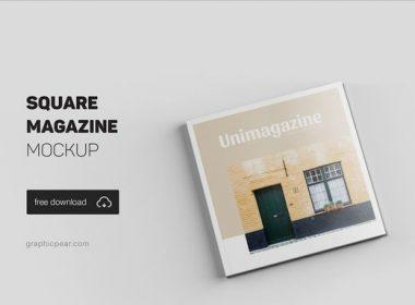 Square Magazine Mockup - Free PSD