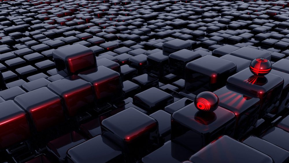 Abstract 3D Shapes Red and Black [3840 × 2160]
