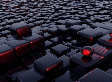 Abstract 3D Shapes Red and Black-3840 × 2160