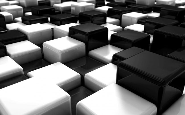 2560 × 1600 Cube Black and White Abstract 4K