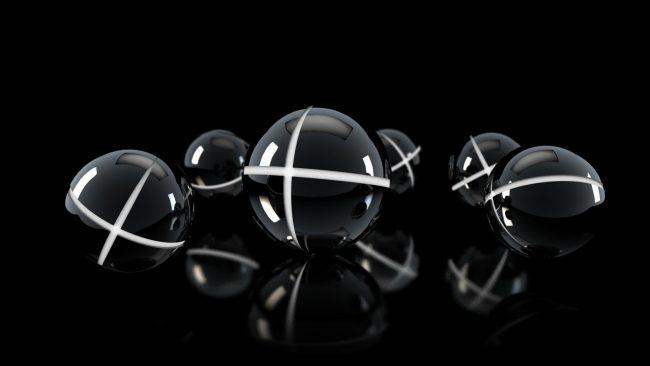 2560 × 1440 Abstract Dark Shapes Balls Wall