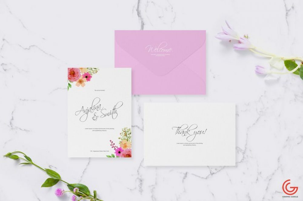 Free Greetings Card Mockup For Wedding