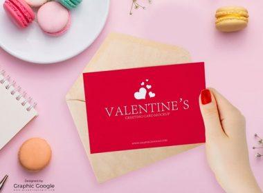 Free Valentines Greeting Card Mockup