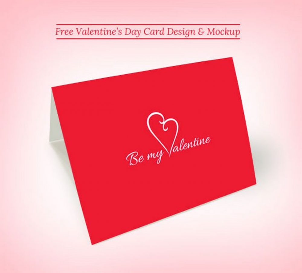 Valentine's Day Greeting Card Mockup PSD