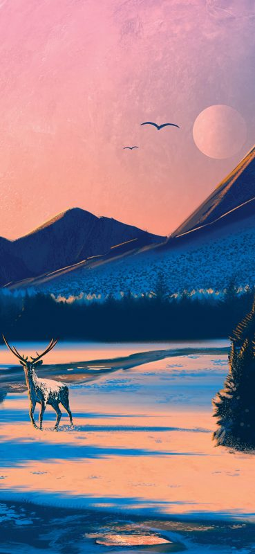 art-deer-and-mountain-wallpaper-1080x2340