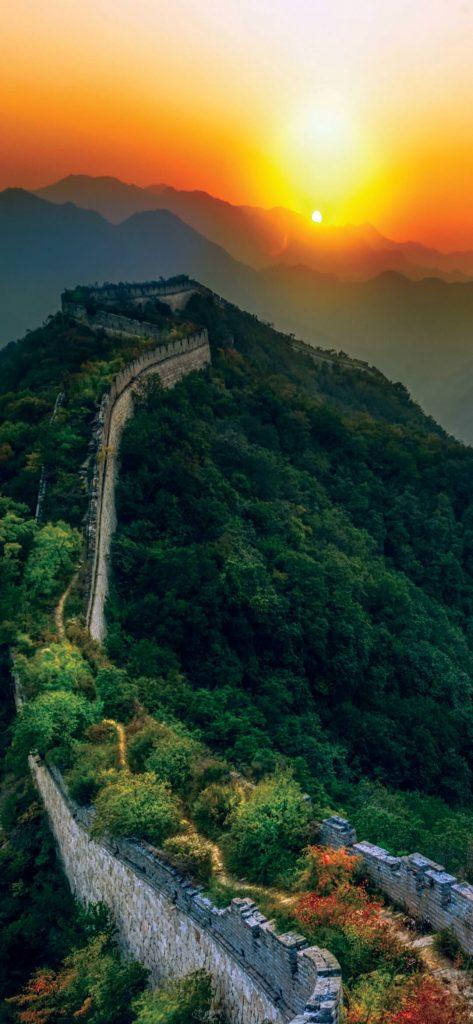 Great Wall of China Sunset HD Wallpaper [1080×2340]