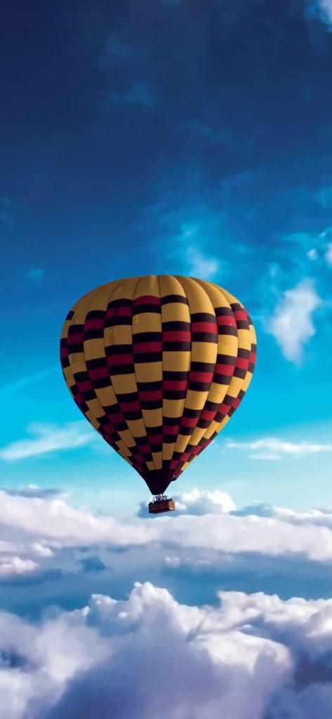 Hot Air Balloon Above Clouds [1080×2340]