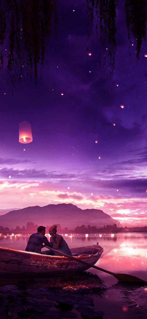 romantic-couple-in-boat-Wallpaper-1080x2340