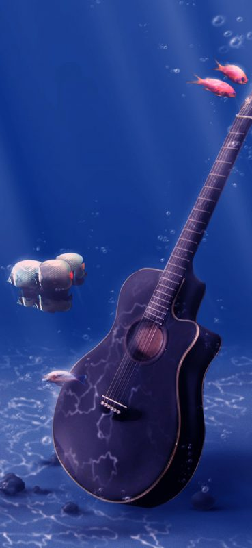 1080×2340-Underwater-Sea-Guitar-And-Fish-HD-Wallpaper