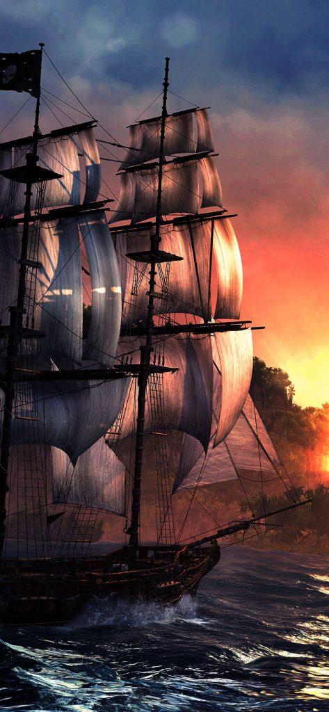 Pirates Ship HD Wallpaper-1080x2340