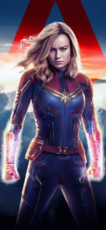 Powerful Captain Marvel HQ Wallpaper-1080x 2340